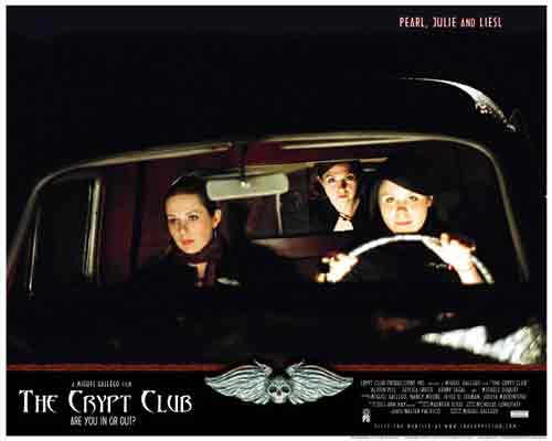 Image of movie lobby card for The Crypt Club, showing the three girls riding in the hearse en route to the Necropolis.