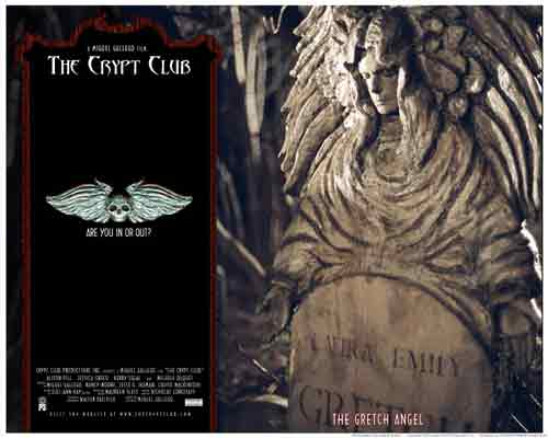 Image of movie lobby card for The Crypt Club, showing Michele Duquet as the Gretch Angel.