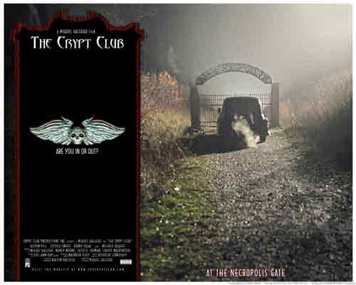 Image of movie lobby card for The Crypt Club, showing the hearse reaching the Necropolis Gate.