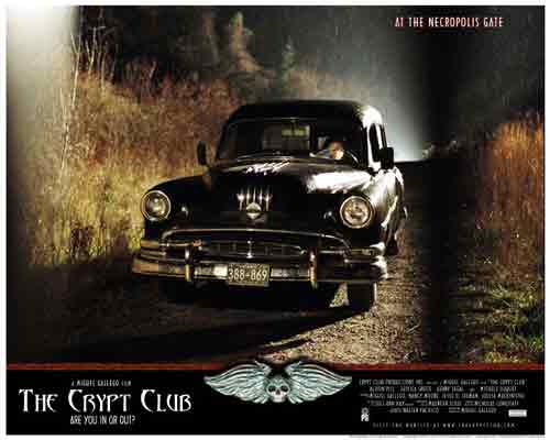 Image of movie lobby card for The Crypt Club, showing the hearse screeching to a halt at the Necropolis Gate.