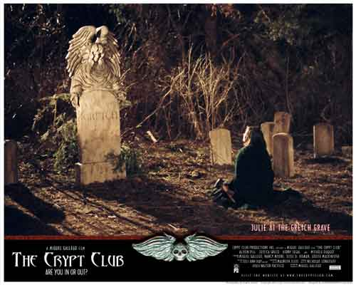 Image of movie lobby card for The Crypt Club, showing Kerry Segal as Julie at the Gretch gravesite.