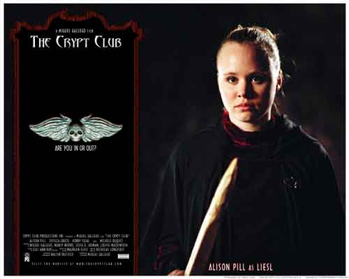 Image of movie lobby card for The Crypt Club, showing Alison Pill as Liesl.
