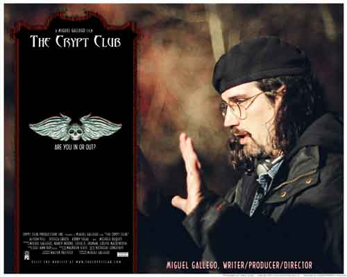 Image of movie lobby card for The Crypt Club, showing filmmaker Miguel Gallego lining up a shot on set.