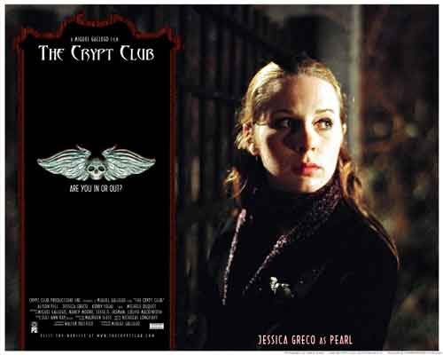 Image of movie lobby card for The Crypt Club, showing Jessica Greco as Pearl at the Necropolis Gate.