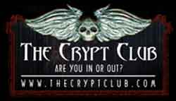 Image of promotional sticker for the film The Crypt Club.